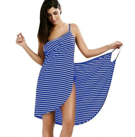 Striped Beach Dress - Blue and White - Wearable Towel