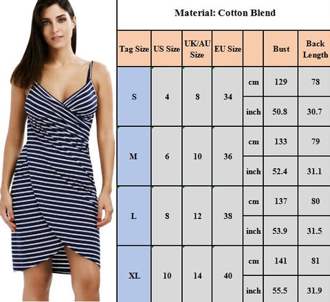 Striped Beach Dress - Wearable Towel - Sizing Chart
