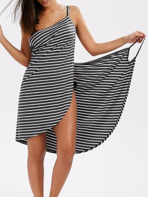 Striped Beach Dress - Black and White - Wearable Towel