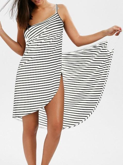 Striped Beach Dress - White and Black - Wearable Towel