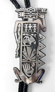 Hopi Overlay Large Bolo of Ancient Petroglyph Figures by Silversmith Berra Tawahongva