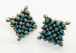 clavert lamy zuni turquoise cluster snake eye earrings