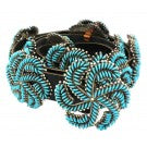 Edith Tsabetsaye, Concho Belt, Sleeping Beauty Turq, Silver, Zuni Handmade,45 in