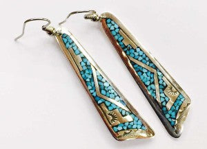 Sterling Silver and Turquoise Chip Inlay Earrings by Navajo Silversmith Lena and Charles Singer