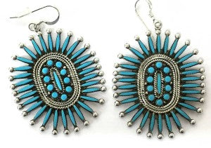 zuni silversmith iva booqua turquoise needlepoint cluster earrings sterling silver