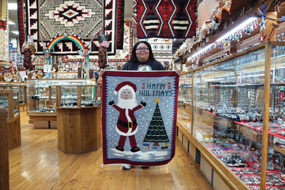 "Load image into Gallery viewer, Wenora Joe, Christmas Pictorial, Rug, Navajo, Handwoven, 33"" x 52"""