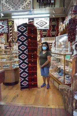 "Load image into Gallery viewer, Millie White, Navajo Handwoven Rug, Runner, New German Town Pattern, 13"" x 90"""