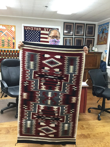 Ancita Begay, Navajo Handwoven Rug, Storm Pattern, Ganado Red Colors, 42