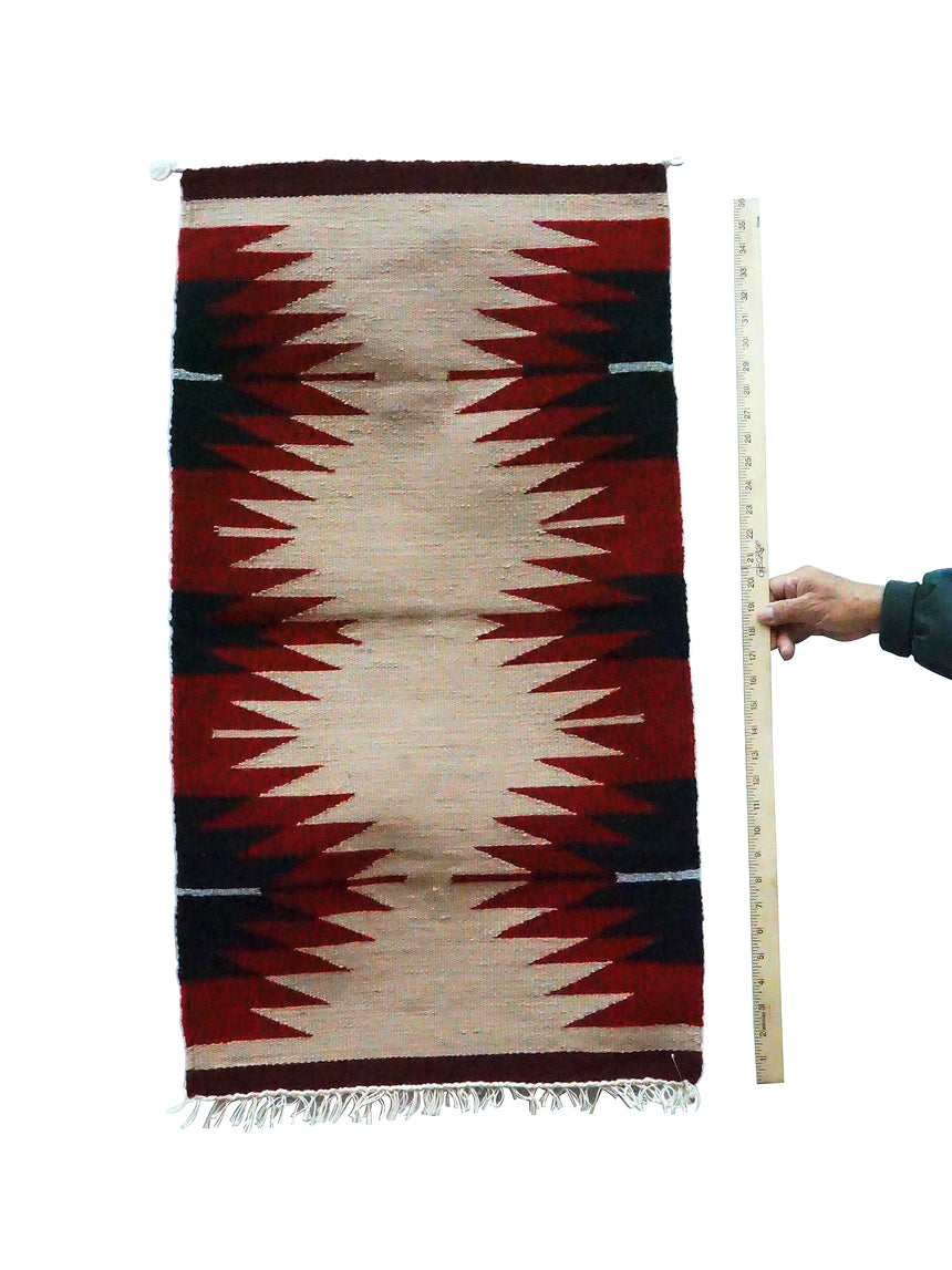 Gallup Throw Rug, Tan, Black, Red Wool Cotton, Navajo, 37