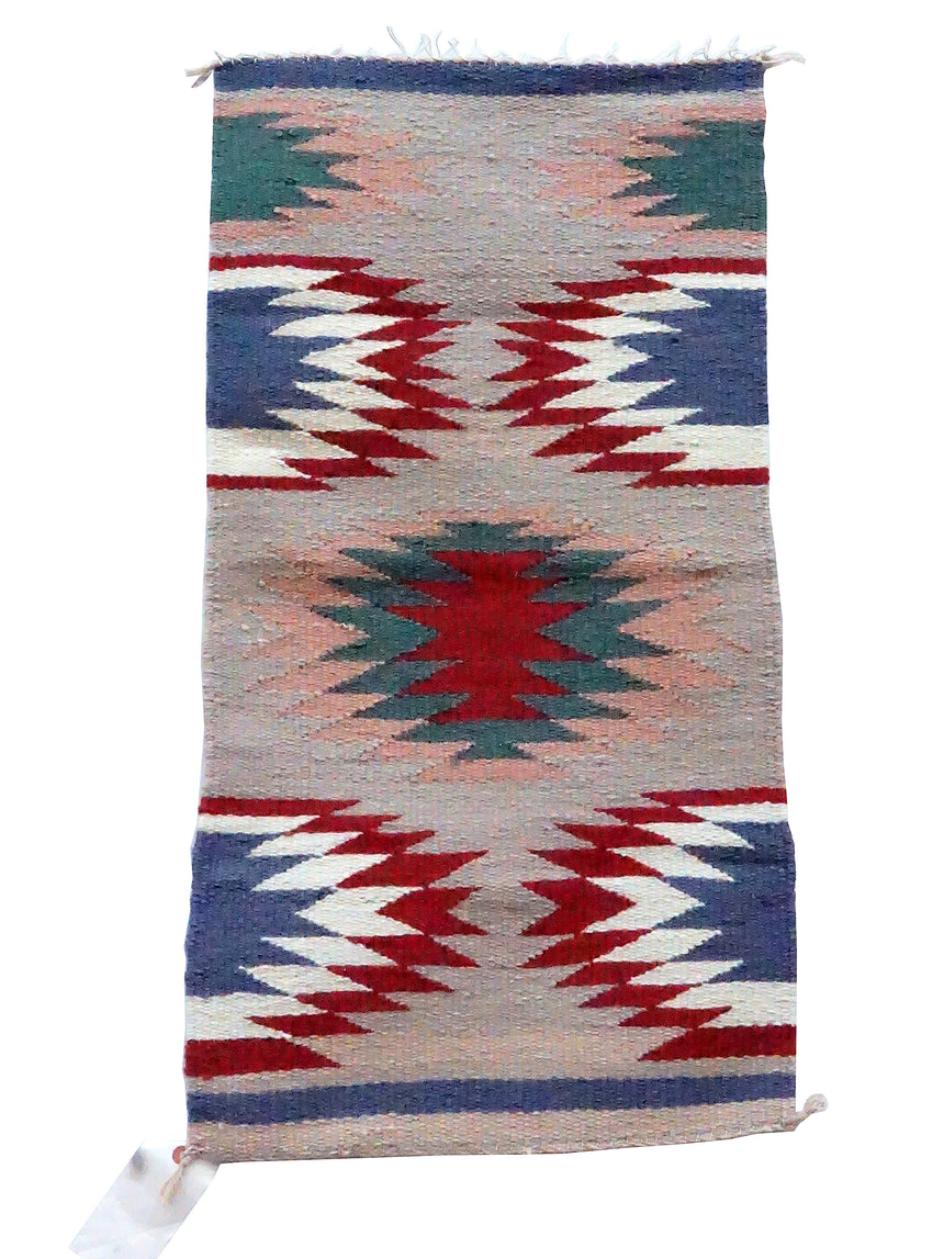Gallup Throw Rug, Blue, Gray, Red Wool Cotton, Navajo, 33 3/4