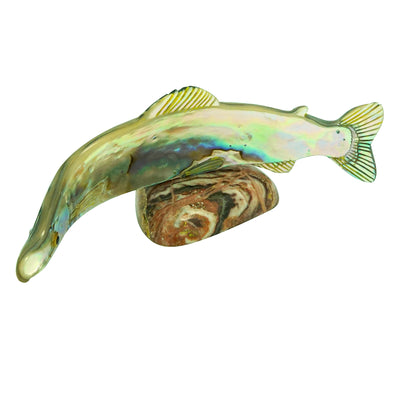 "Load image into Gallery viewer, Jerome Tsalabutie, Fish, Abalone Shell, Zuni Handmade Fetish, 5 1/8"" x 1 3/4"""