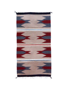 "Gallup Throw Rug, Tan, Gray, Red Wool Cotton, Navajo, 37 1/2"" x 19 1/2"""