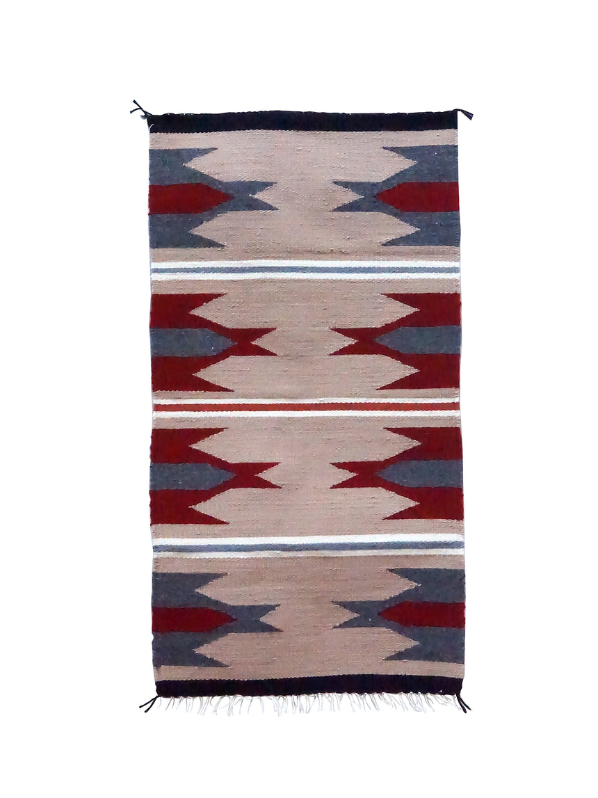 Gallup Throw Rug, Tan, Gray, Red Wool Cotton, Navajo, 37 1/2