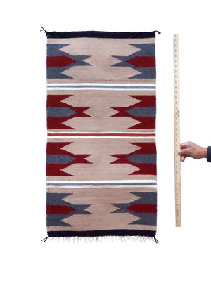"Load image into Gallery viewer, Gallup Throw Rug, Tan, Gray, Red Wool Cotton, Navajo, 37 1/2"" x 19 1/2"""