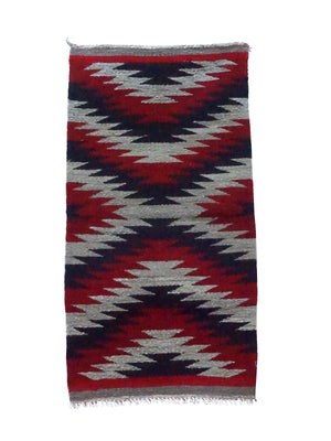 "Load image into Gallery viewer, Celena Daniels, Gallup Throw Rug, Wool Cotton, Navajo Made, 40"" x 20 1/2"""