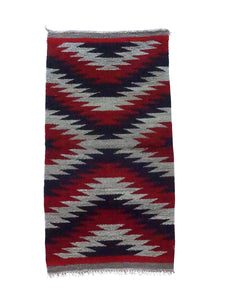 "Celena Daniels, Gallup Throw Rug, Wool Cotton, Navajo Made, 40"" x 20 1/2"""