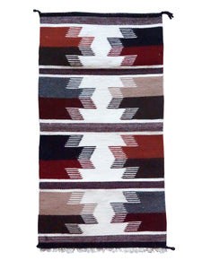 "Norma Spencer, Gallup Throw Rug, Wool Cotton, Navajo Handwoven, 34"" x 18"""