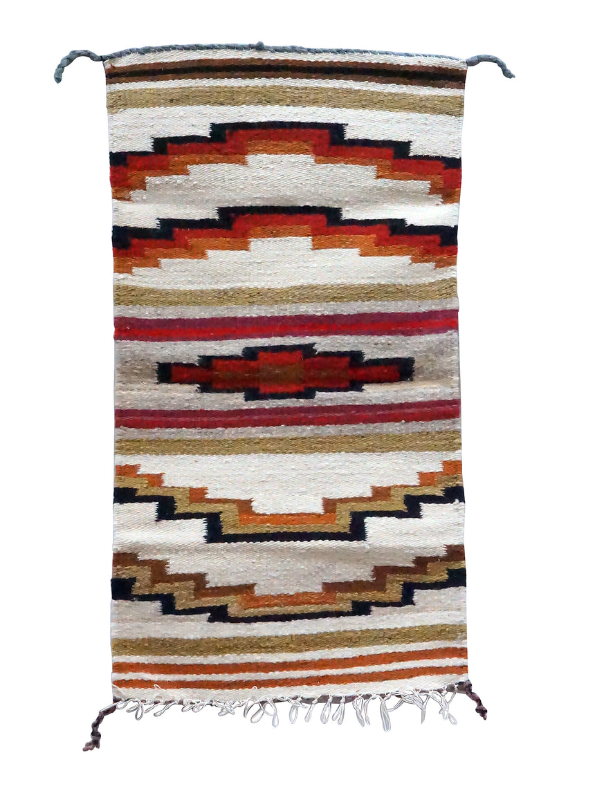Gallup Throw Rug, Yellow, Red, Wool Cotton, Navajo Made, 34 1/2