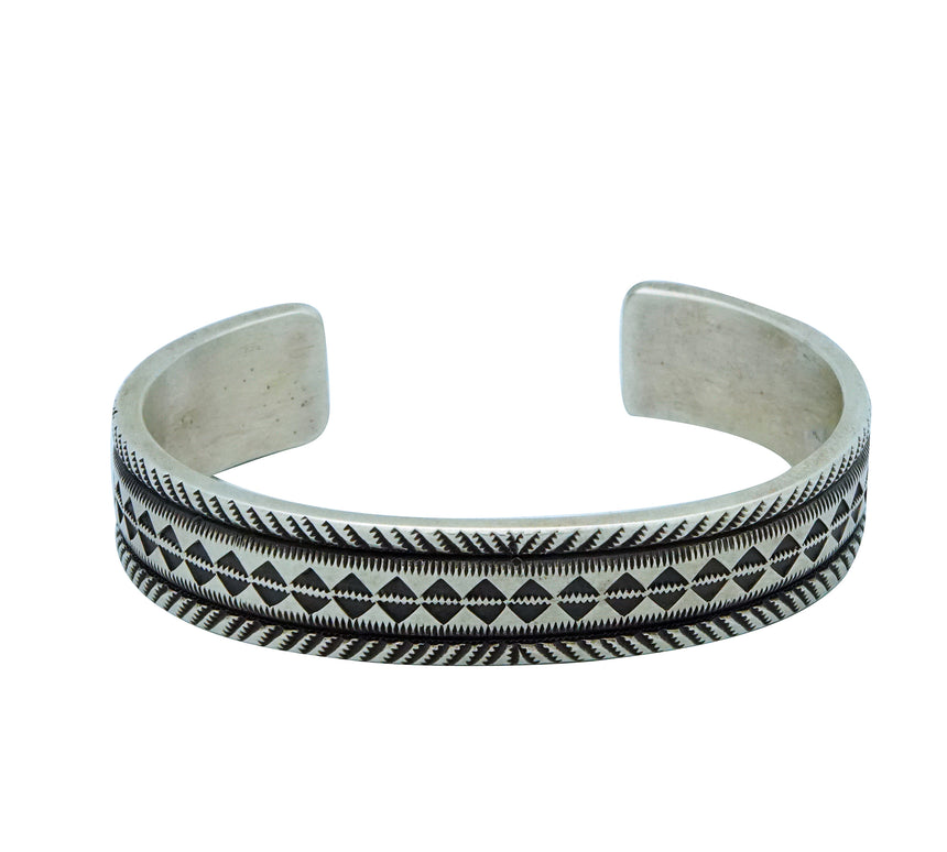 Calvin Martinez, Bracelet, Original Stamping, Diamond Rug, Navajo Made, 6 3/8