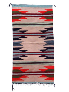 "Faye Peterson, Gallup Throw Rug, Wool Cotton, Navajo Handwoven, 38"" x 20"""