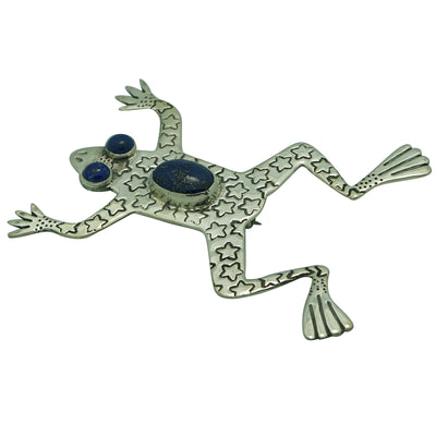 "Load image into Gallery viewer, Russell Lee, Pin, Leaping Frog, Blue Lapis, Navajo Handmade, 3"" x 2 1/8"""