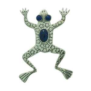 "Russell Lee, Pin, Leaping Frog, Blue Lapis, Navajo Handmade, 3"" x 2 1/8"""