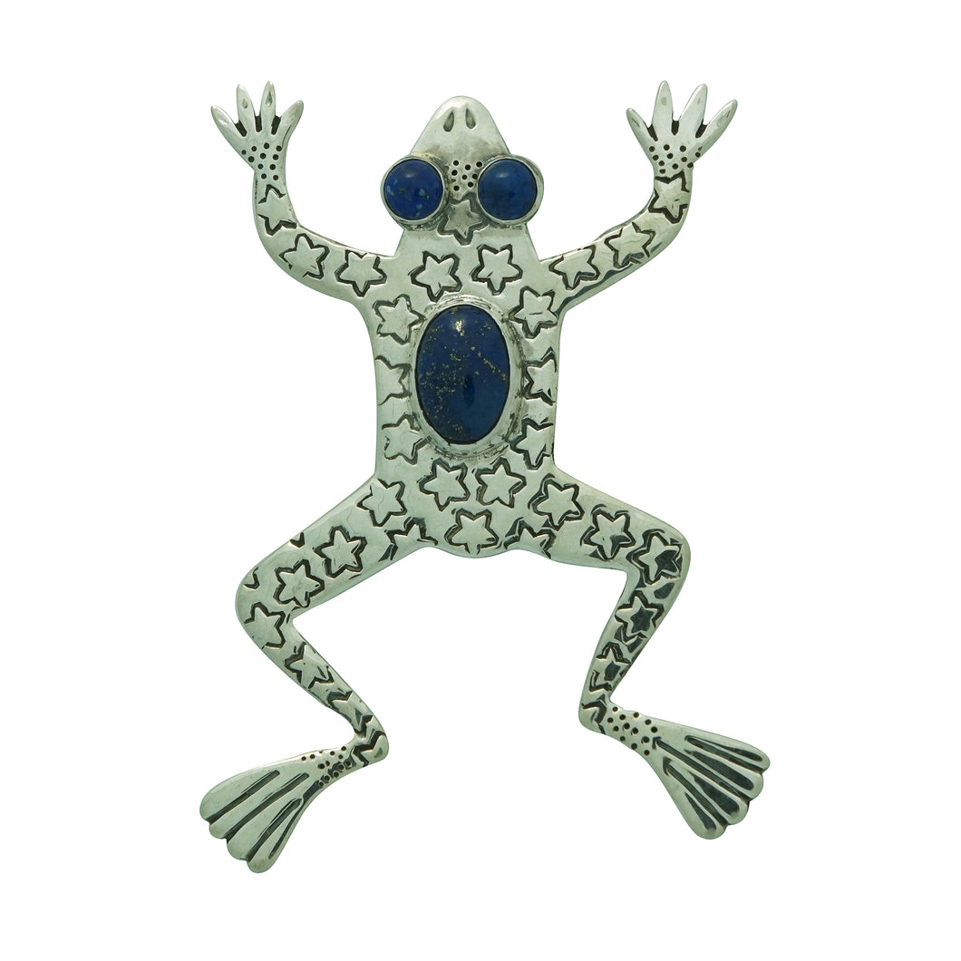 Russell Lee, Pin, Leaping Frog, Blue Lapis, Navajo Handmade, 3