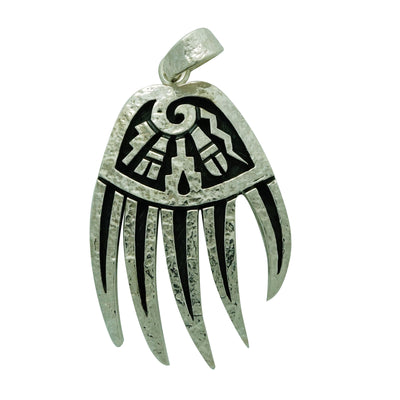 "Load image into Gallery viewer, Ruben Saufkie, Pendant, Silver Overlay, Bear Claw, Hopi Made, 2 1/4"" x 1 ¼"