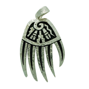 "Ruben Saufkie, Pendant, Silver Overlay, Bear Claw, Hopi Made, 2 1/4"" x 1 ¼"