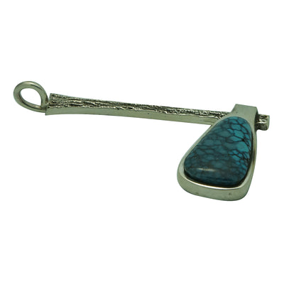 "Load image into Gallery viewer, Aaron Anderson, Pendant, Tomahawk, Turquoise, Navajo Handmade, 2 3/4"" x 1 1/2"""
