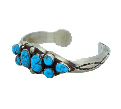 Load image into Gallery viewer, Calvin Martinez, Bracelet, Kingman Turquoise, Cluster, Narrow, Navajo Made, 6