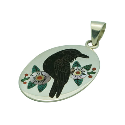 "Load image into Gallery viewer, Ruddell, Nancy Laconsello, Pendant, Raven, Zuni Handmade, 2 1/8"" x 1 1/8"""