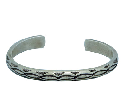 Load image into Gallery viewer, Calvin Martinez, Bracelet, Navajo Old Style Silver, Crossroads, Handmade, 7 1/8