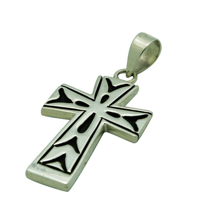 "Load image into Gallery viewer, Kary Begay, Pendant, Cross, Sterling Silver Overlay, Navajo Made, 2 1/8"" x 1"""