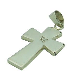 "Kary Begay, Pendant, Cross, Sterling Silver Overlay, Navajo Made, 2 1/8"" x 1"""