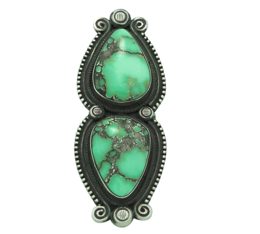 Calvin Martinez, Ring, Broken Arrow Variscite, Old Style, Navajo Made, 6 ½