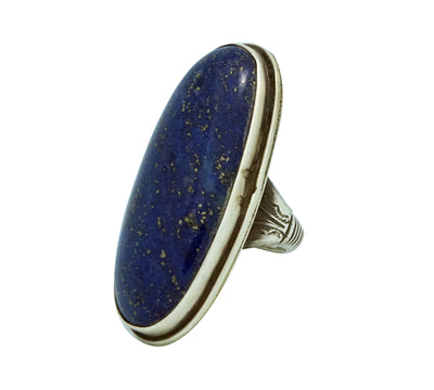 Load image into Gallery viewer, Calvin Martinez, Ring, Lapis, Big Stone, Sterling Silver, Navajo Handmade, 8