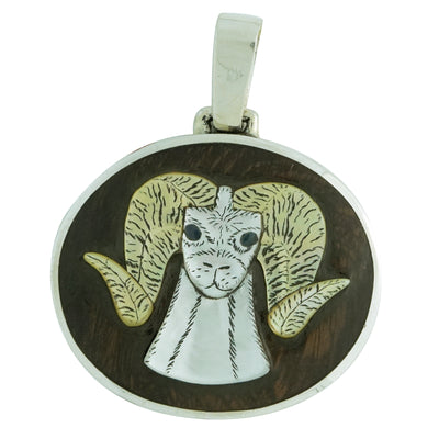"Load image into Gallery viewer, Harlan Coonsis, Pendant, Bighorn Sheep, Inlay, Zuni Handmade, 2 1/8"" x 1 3/4"""