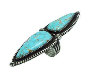 Calvin Martinez, Ring, Number Eight Turquoise, Old Style Silver, Navajo, 7