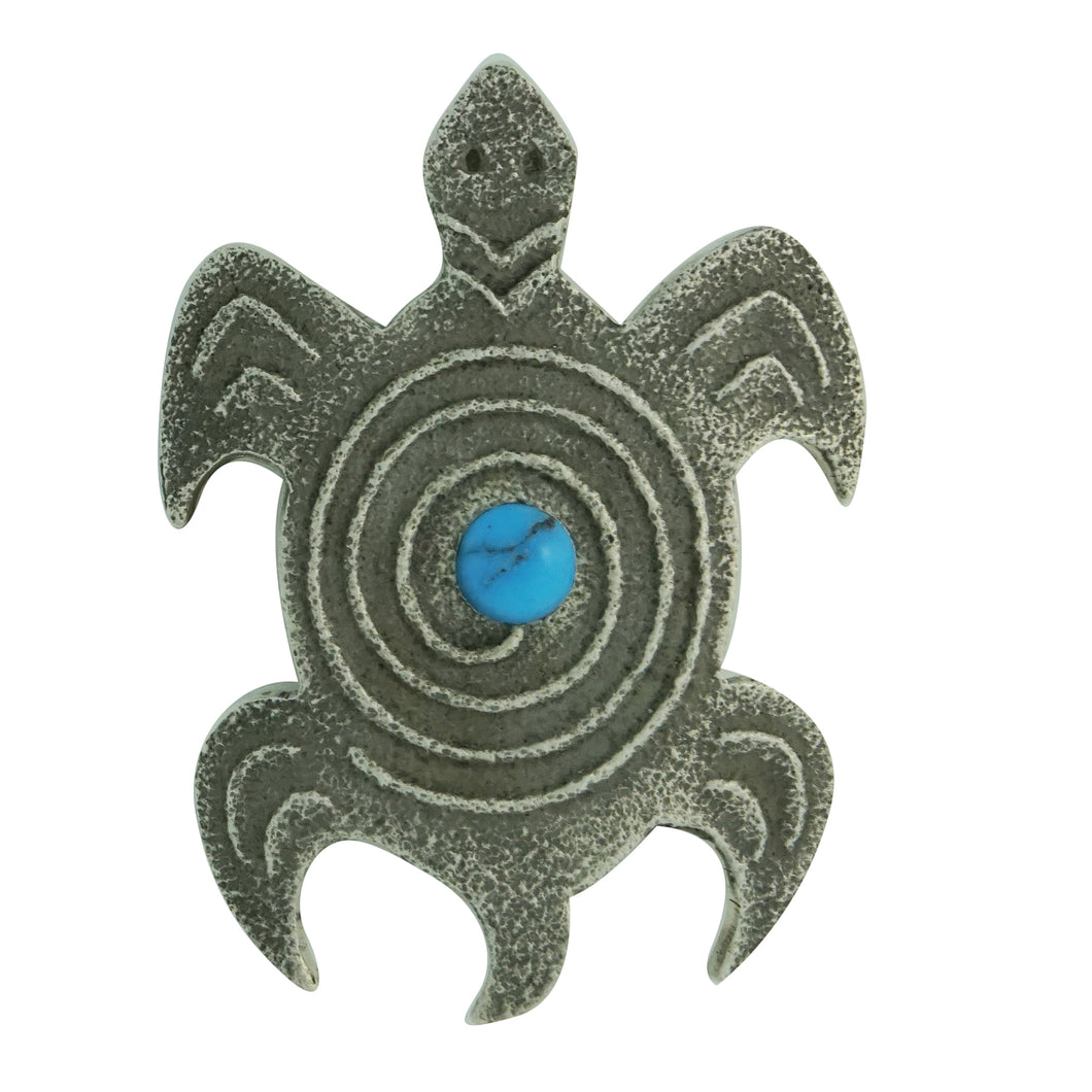 Lee Begay, Pin, Pendant, Turtle, Kingman Turquoise, Navajo Made, 2 1/8