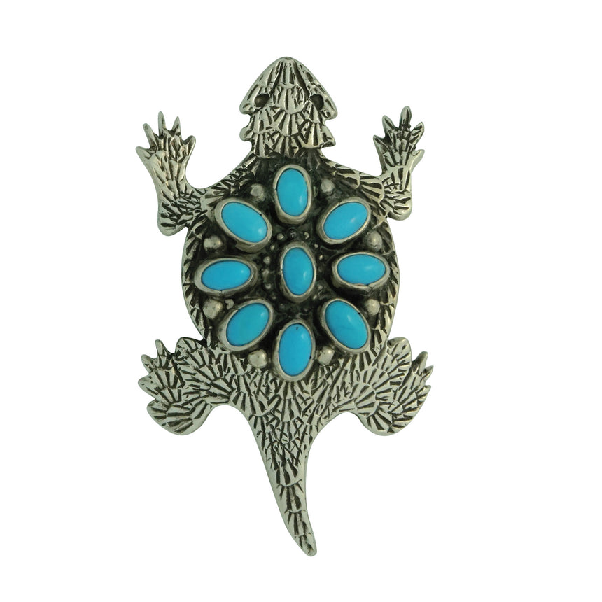 Lee Charley, Pin, Horned Toad, Kingman Turquoise, Navajo Handmade, 2