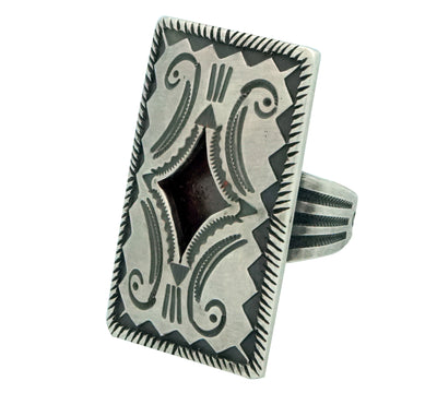 Load image into Gallery viewer, Calvin Martinez, Ring, Rectangle Hollow Design, Stamping, Navajo Handmade, 9