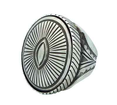 Load image into Gallery viewer, Calvin Martinez, Ring, Oval Box Design, Stamping, Navajo Handmade, 11 1/2
