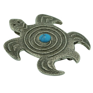 "Lee Begay, Pin, Pendant, Turtle, Kingman Turquoise, Navajo Made, 2 1/8"" x 1 5/8"""