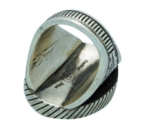 Calvin Martinez, Ring, Oval Box Design, Stamping, Navajo Handmade, 11 1/2