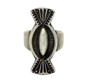 Edison Sandy Smith, Ring, Bow Tie Design, Stamping, Silver, Navajo Handmade, 7