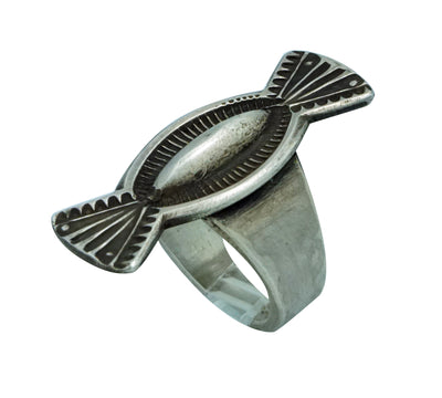 Load image into Gallery viewer, Edison Sandy Smith, Ring, Bow Tie Design, Stamping, Silver, Navajo Handmade, 7