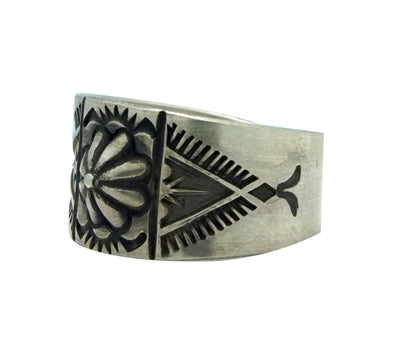 Load image into Gallery viewer, Edison Sandy Smith, Ring, Button Style Bump Out, Stamping, Navajo Made, 10 1/2