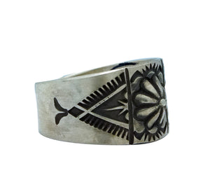 Edison Sandy Smith, Ring, Button Style Bump Out, Stamping, Navajo Made, 10 1/2