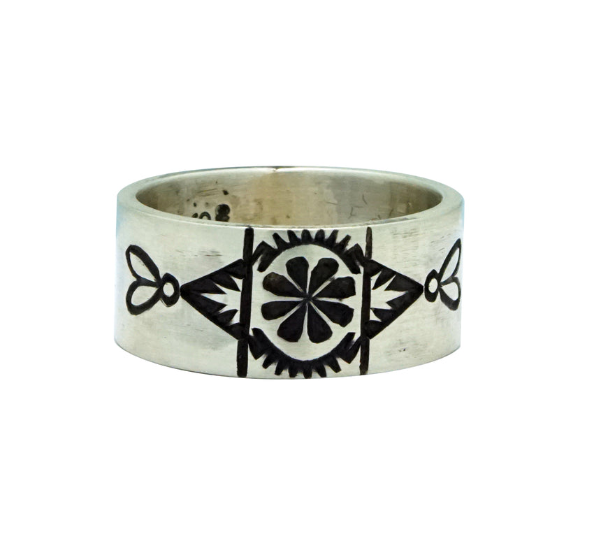 Edison Sandy Smith, Ring, Three Bump Outs, Stamping, Navajo Handmade, 10